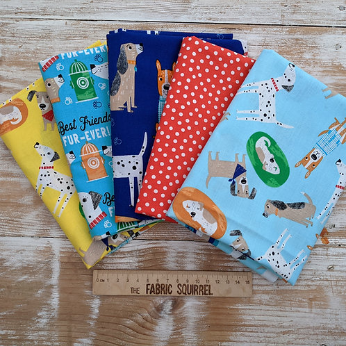 Dog Fabric - Best Friends Fur Ever Fat Quarters x5