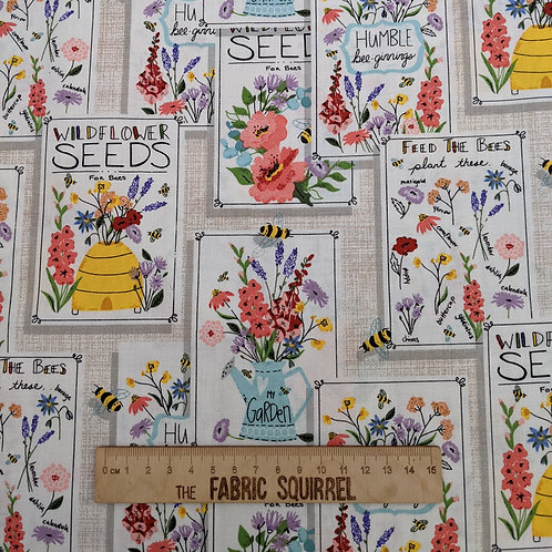 Wild Flower Seed Packets Fabric - Feed the Bees by 3 Wishes Fabrics