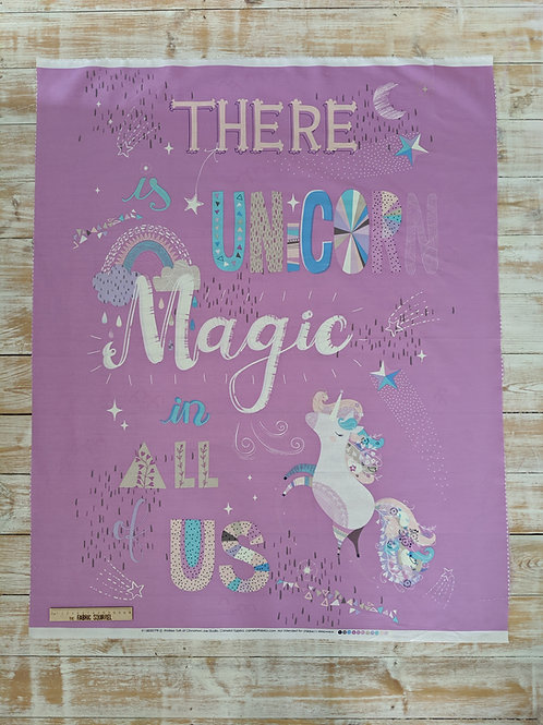 There is Unicorn Magic in All of Us Quilt Panel - Glow in the Dark Fabric from C