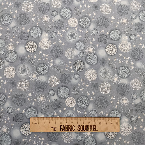 Grey Dandelion Fabric - Fairy Clocks by Lewis and Irene