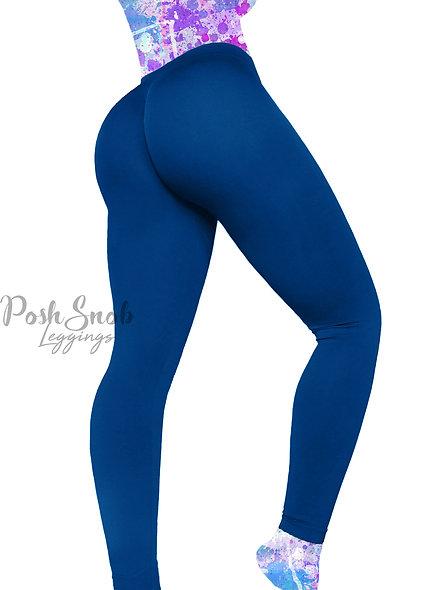 PoshSnob Royal Blue Soft Fleece Deep Scrunch Leggings