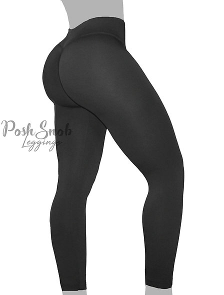 PoshSnob Black Soft Fleece Deep Scrunch Leggings