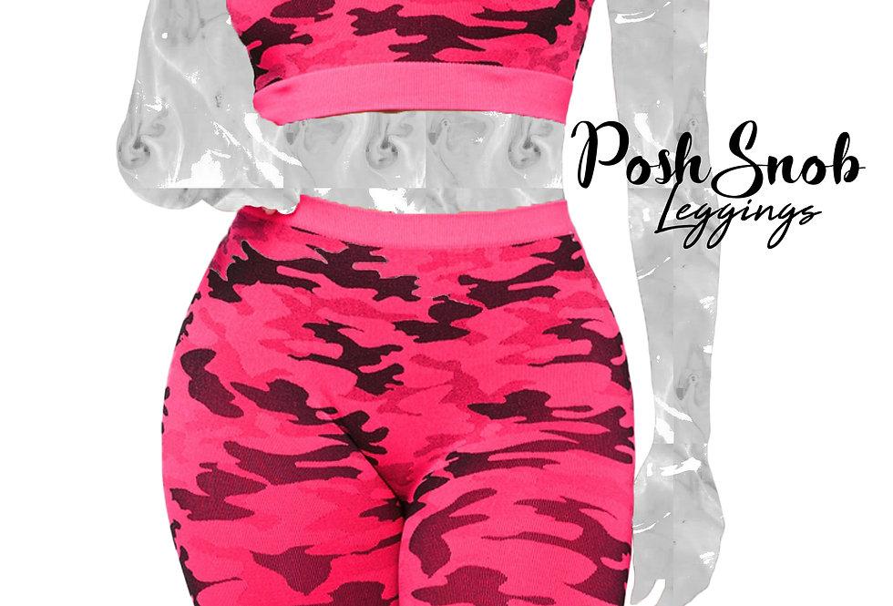 PoshSnob Pink Camo Deep Scrunch Knee Shorts Set