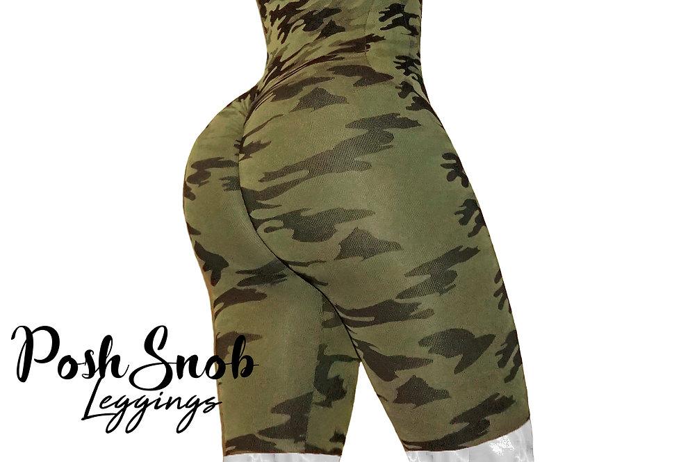 PoshSnob Camo Deep Scrunch Cami Bodysuit