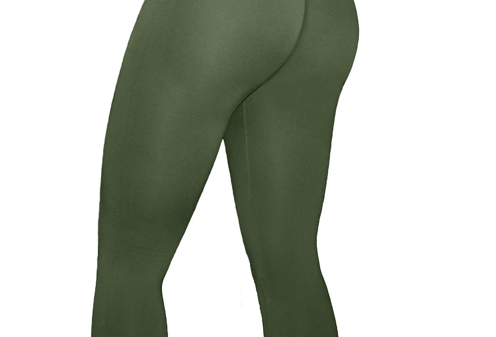 "PoshSnob PLUS Olive ""Fit Form"" Fleece Cheeky Leggings"