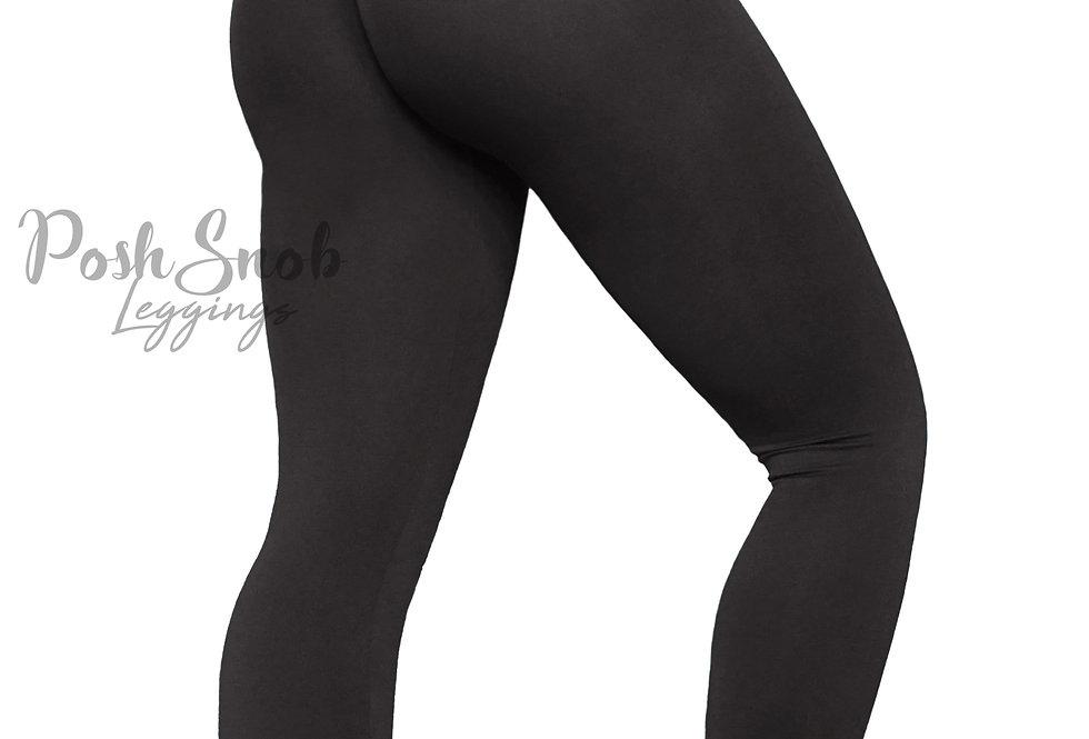 PoshSnob Black Soft Fleece Deep Scrunch Leggings