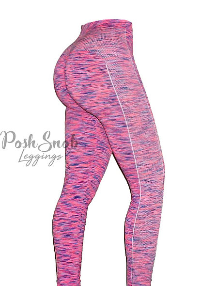 PoshSnob Pink Spacedye Sport Super Scrunch Leggings
