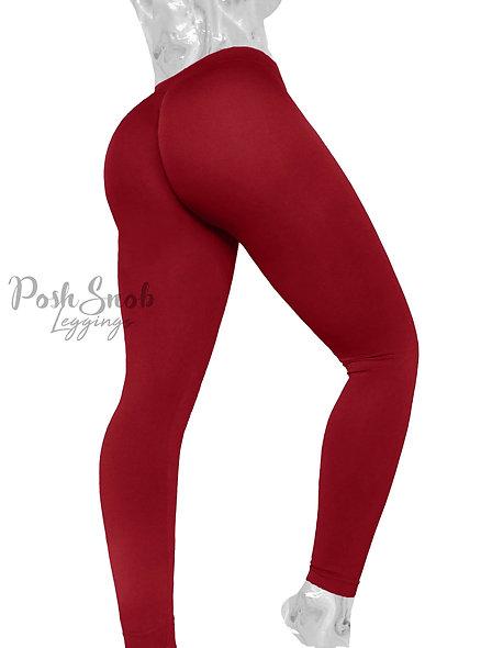 PoshSnob Cranberry Soft Fleece Deep Scrunch Leggings