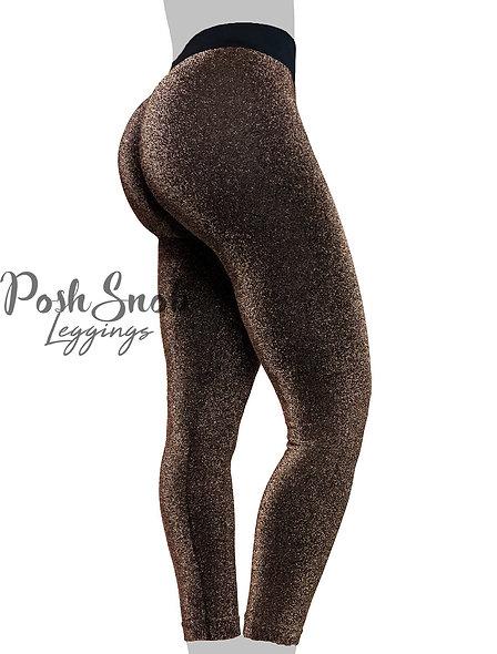 """PoshSnob """"Golden Sparkle"""" Deep Scrunch Active Leggings"""