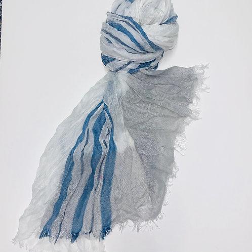 Blue Stripped Gauze Scarf