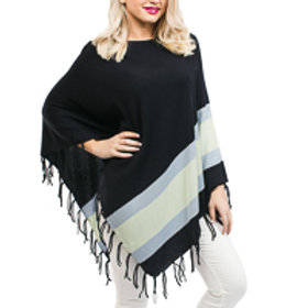 Fringe Poncho: Navy Blue with Blue and Green Stripes