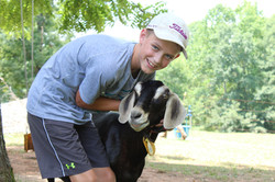 Camper with goat