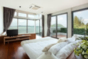 panoramic view of nice cozy  bedroom  wi