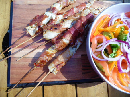 Garlic, Lemon & Parma Ham Fish Skewers