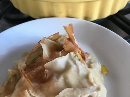 Chicken & Leek Filo Pastry Pie with a Creamy Oat Milk White Wine Sauce