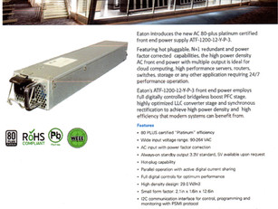 Eaton introduces the new AC 80-plus platinum certified front end power supply