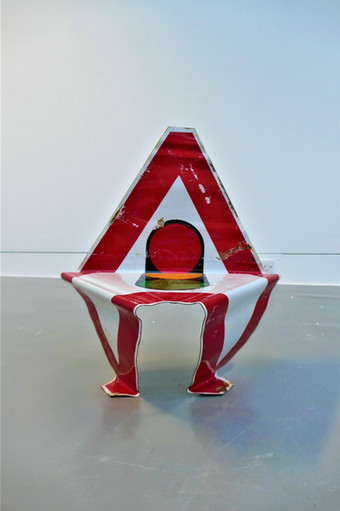 Road Sign Bent into a Chair
