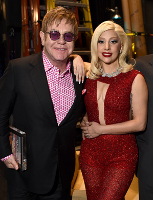 Lady Gaga performs with Elton John