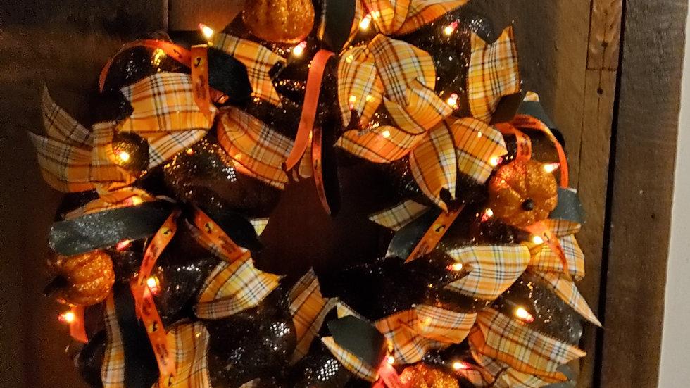 Happy Halloween Candy Corn Lighted wreath