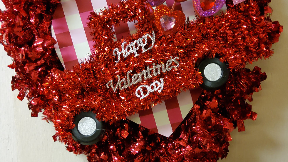 Tinsel truck heart wreath