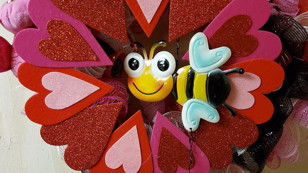 Bee mine valentine's wreath