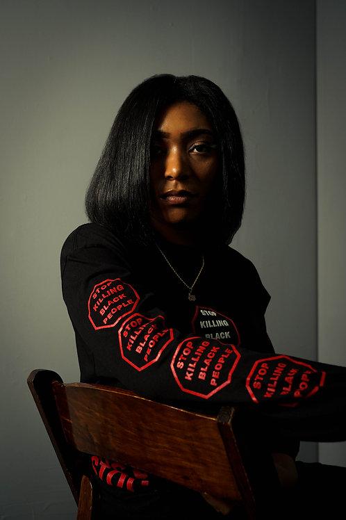 STOP KILLING BLACK PEOPLE X Murder Must Stop L/s Tee Red
