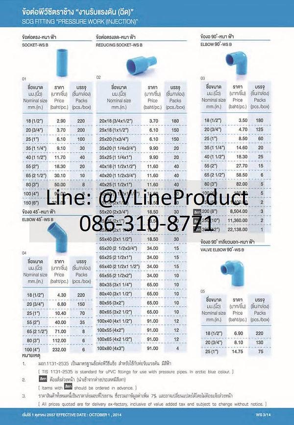ข้อต่อpvc ข้อต่อพีวีซี อุปกรณ์สีฟ้า SCG น้ำไทย - 1