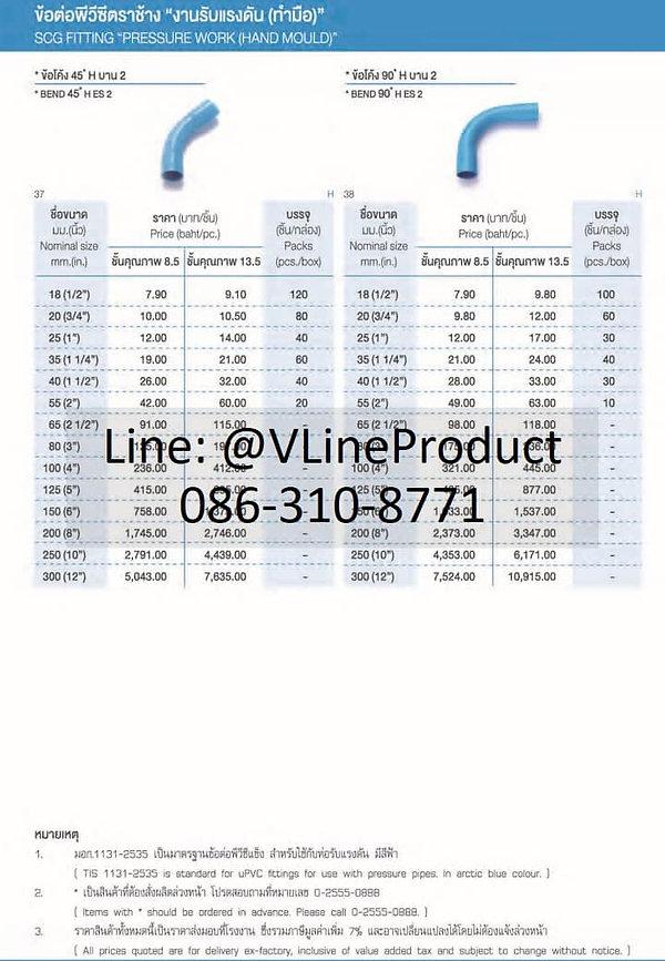ข้อต่อpvc ข้อต่อพีวีซี อุปกรณ์สีฟ้า SCG น้ำไทย - 7