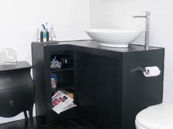 Black corner vanity unit