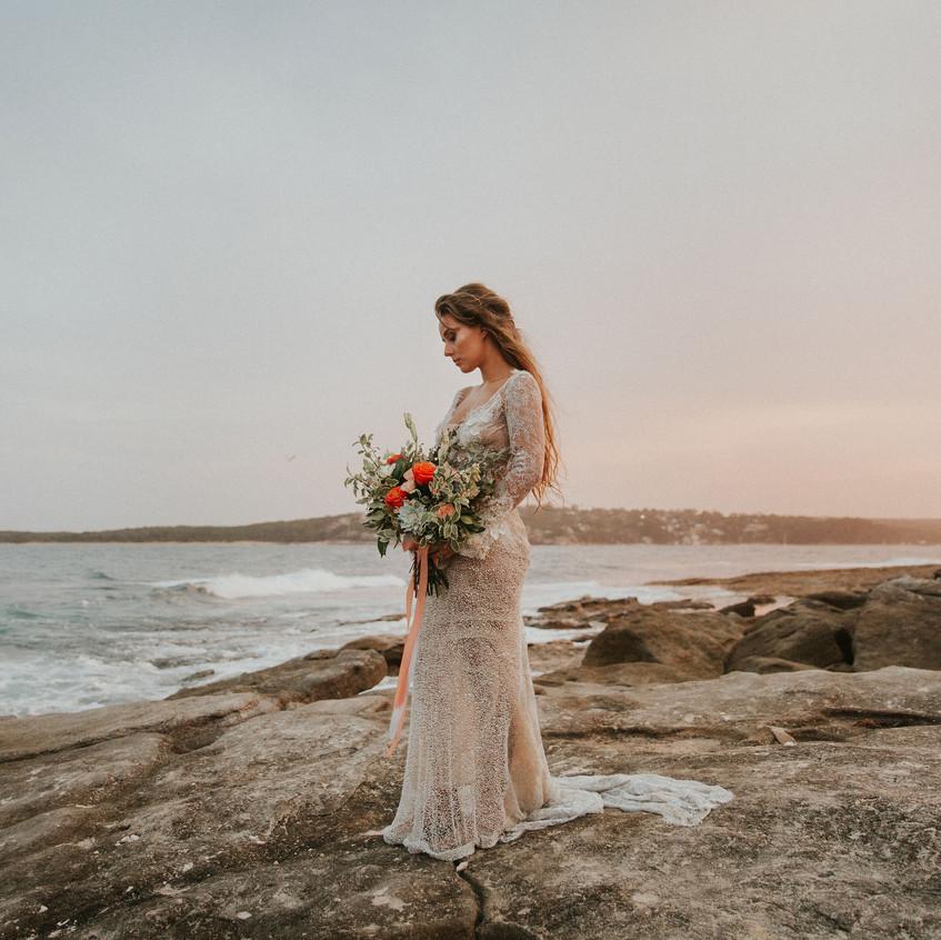 Beach Bride with Bouquet