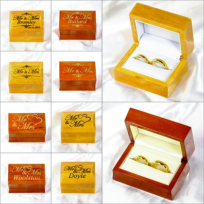 Luxury Mr and Mrs Wooden Double Wedding Ring Box