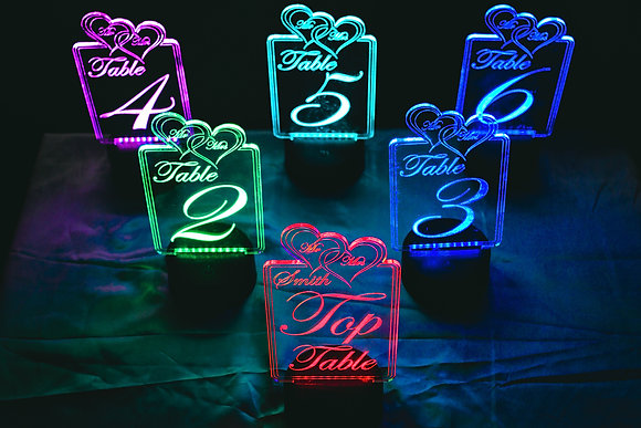 Table Numbers Custom Wedding  Party Table Centerpiece