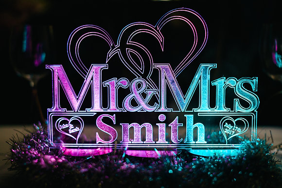 Personalised Mr & Mrs Table  Wedding Table Centerpiece