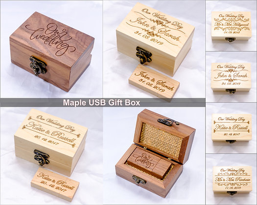 USB 2.0 16GB Personalised Wooden Box Engraved Wedding Pen Drive