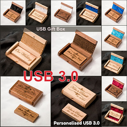 Personalised Gift Wooden USB Stick with Box, Laser engraved Wedding Photographer, Wedding Photography, Client's package,