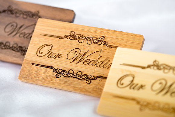 Personalised Gift Wooden USB Stick, Bamboo, Laser engraved Wedding Photographer, Wedding Photography, Client's package,