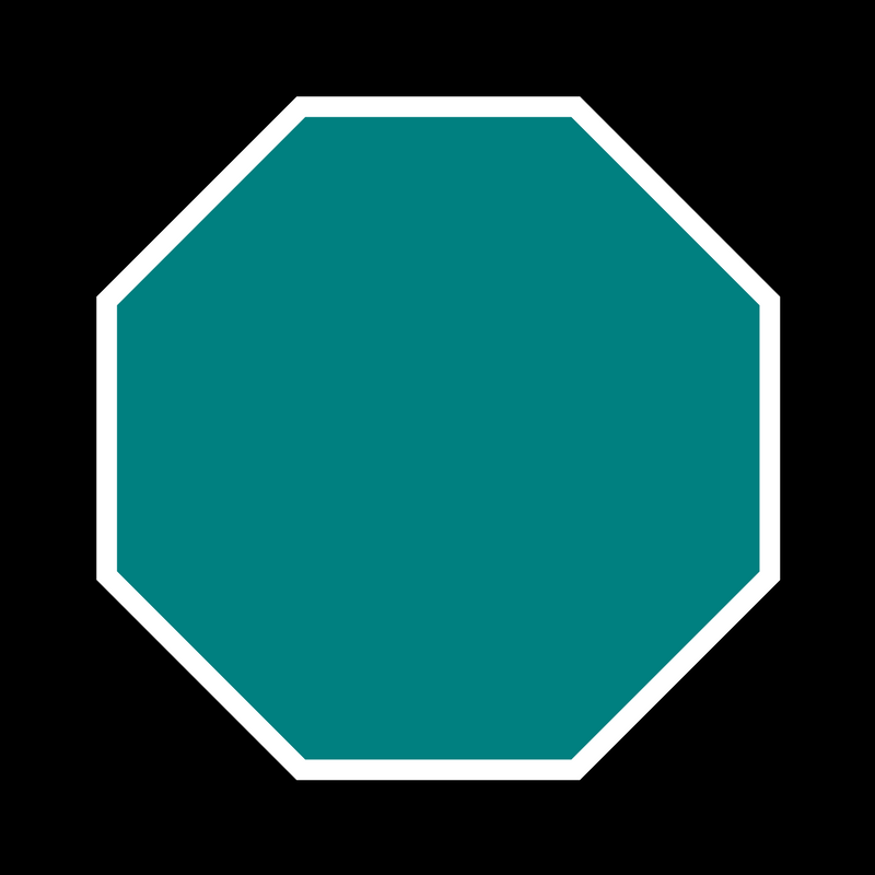 teal stop sign