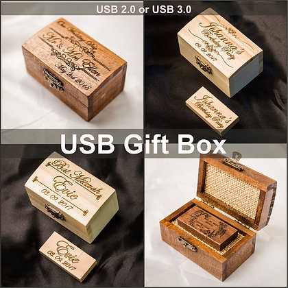 Personalised Gift Wooden USB Stick 16GB with Box, Laser engraved Wedding Photographer, Wedding Photography, Client's package,