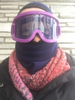 The glamorous headgear I wore to train in -30 degree Celsius temperatures.