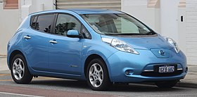 A photo of a Nissan LEAF (Author: EurovisionNim. Source Wikipedia)