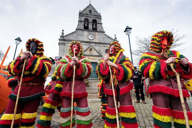 Traditional Caretos masks in Podence, at Portugal
