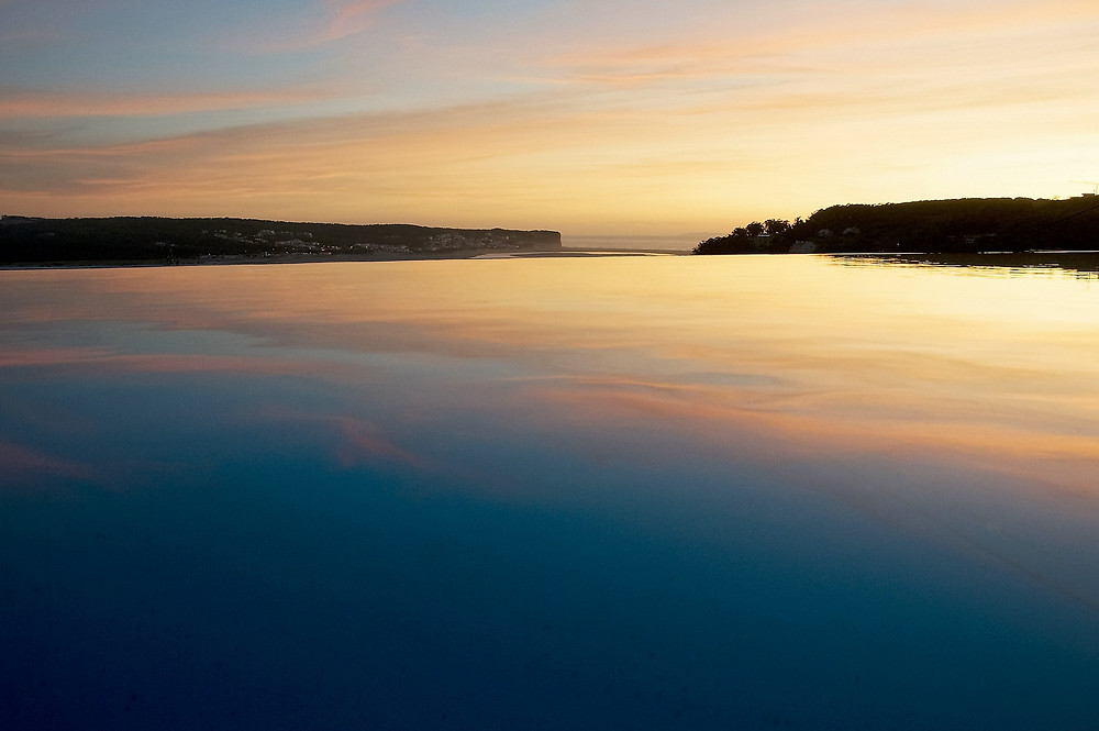 pool at sunset, in the villa casa do lago