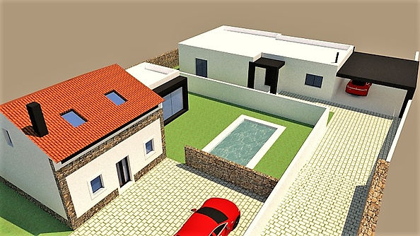 General view of the 3D project for two villas