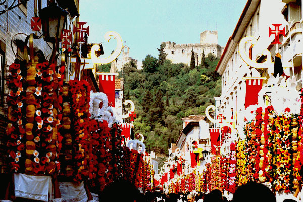 Detail of the Tabuleiros Festivities Procession, in Tomar, Portugal