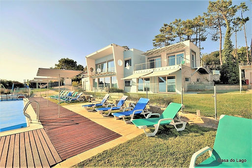 Enclosed pool area with 12 sun loungers