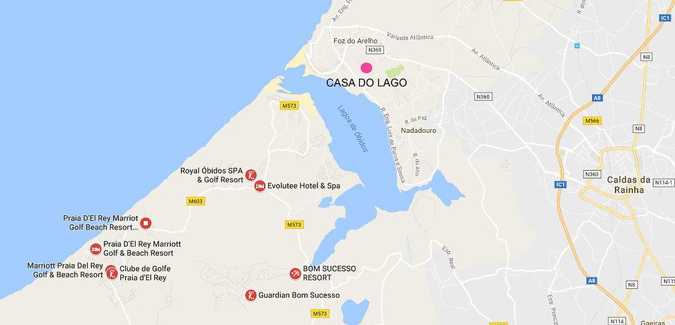 map of Obidos golf courses, near Casa do Lago villa, Silver Coast, Portugal