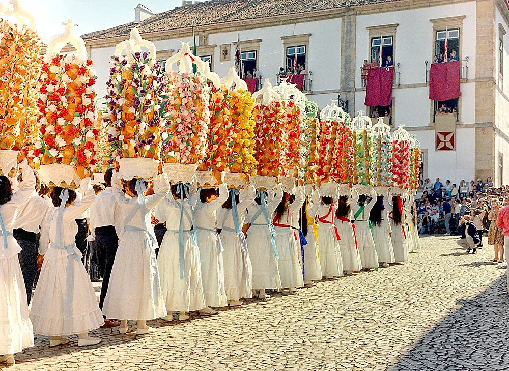 Procession of Tabuleiros in Tomar, the center of Portugal