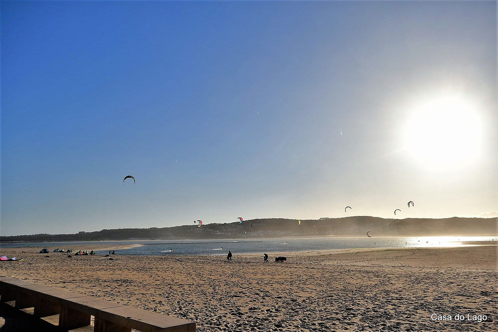 Kite surf activity in a winter day at the beach of Foz do Arelho, Silver Coast, Portugal