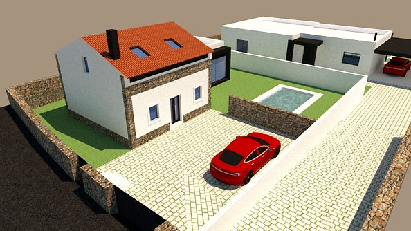 Traditional villa rebuilt with added area in moder architecture