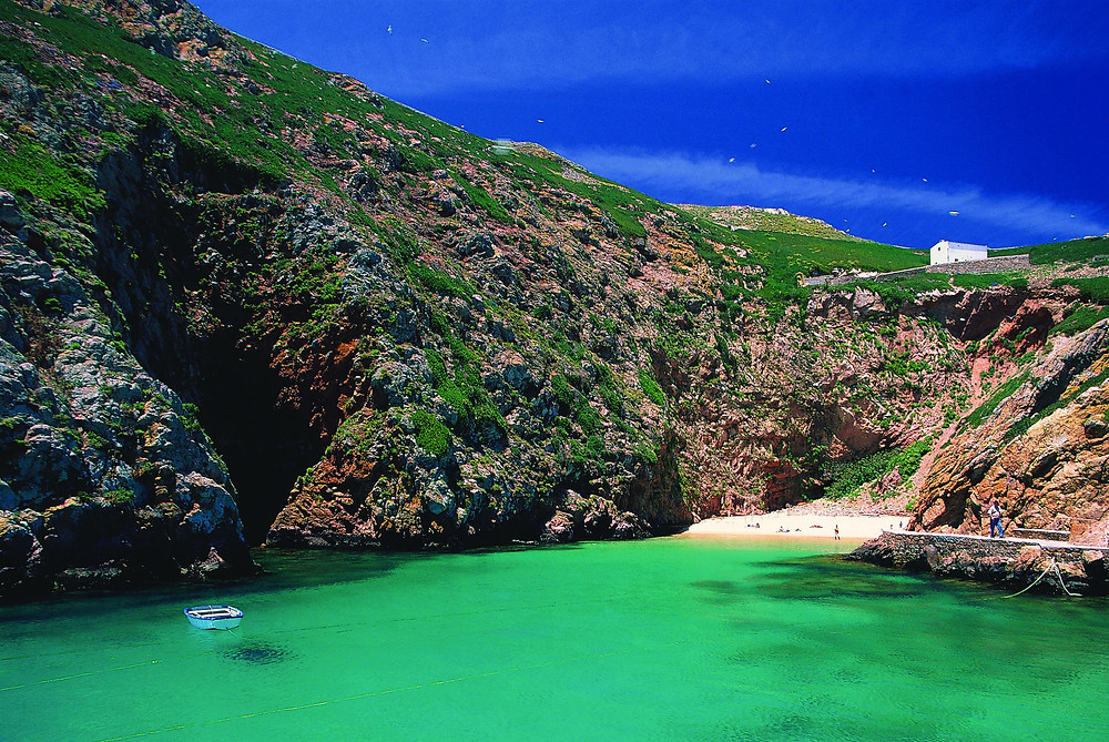 Small and tranquil beach of Berlenga Island, near the villa Casa do Lago